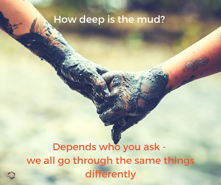 Two people holding hands, hands covered in mud